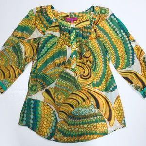 Banana republic Trina Turk yellow & green blouse 6